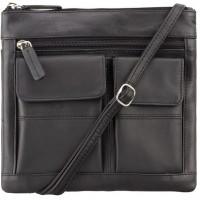 Мужская кожаная сумка Visconti 18608 Slim Bag Black