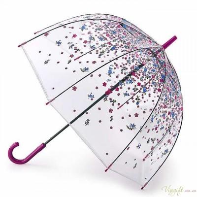 Женский зонт-трость прозрачный Fulton Birdcage-2 L042 Tumble Down Petals