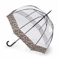 Женский зонт-трость прозрачный Fulton L866 Birdcage-2 Luxe Natural Leopard