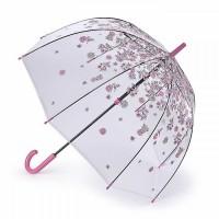 Женский зонт-трость прозрачный Fulton L042 Birdcage-2 Sketchy Springs