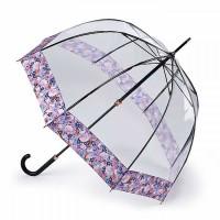 Женский зонт-трость прозрачный Fulton L866 Birdcage-2 Luxe Digital Blossom