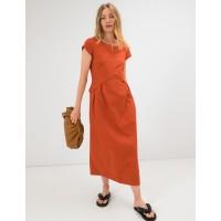 Платье из облегченного льна Season в стиле бохо цвета терракот
