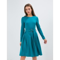 Приталенное платье Season с поясом бирюзовое
