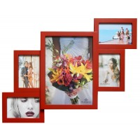 Деревянная мультирамка Руноко Красная на 5 фотографий