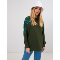 Женский свитшот с принтом Season зеленый