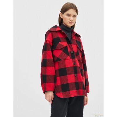 Женская рубашка-пальто Season в клетку красная