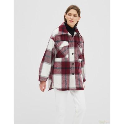 Женская рубашка-пальто Season в клетку бордовая