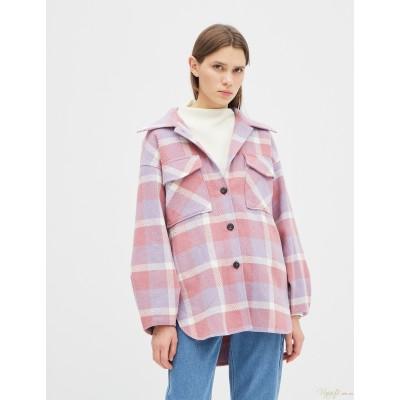 Женская рубашка-пальто Season в клетку розовая