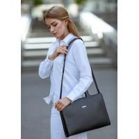 Кожаная сумка для ноутбука и документов BlankNote черная