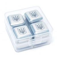 Камни кубики для виски металл 4 шт Decanto 980026 Трезубец