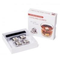 Камни кубики для виски металл 4 шт в подарочной коробке Decanto 980028 Доллар