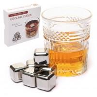 Камни кубики для виски металл 6 шт в подарочной коробке Decanto 980022