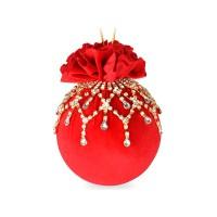 Елочный шар с ажурным украшением Красный маскарад 10 см