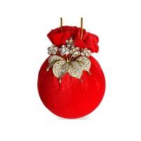 Елочный шар с цветком Красный маскарад 8 см