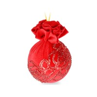 Елочный шар с красным украшением Красный маскарад 8 см