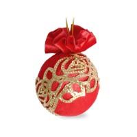 Елочный шар с золотым украшением Красный маскарад 8 см