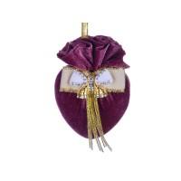 Елочная игрушка сердце с брошкой бант Бордовая феерия