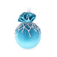 Елочный шар с ажурным украшением Бирюзовая феерия 10 см