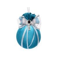 Елочный шар с двойным бантом и брошкой Бирюзовая феерия 10 см