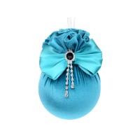 Елочный шар с атласным бантом и брошкой Бирюзовая феерия 10 см