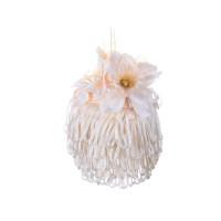 Елочный шар с бахромой и цветочной композицией Шампань 8 см