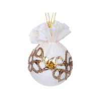 Елочный шар с золотым украшением Шампань 8 см