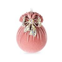 Елочный шар с серебряным бантом Розовая жемчужина 9 см