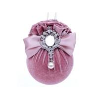 Елочный шар с бантом и брошкой Розовая жемчужина 10 см