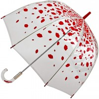 Женский зонт-трость прозрачный Fulton Lulu Guinness by Fulton L719 Birdcage-2 Raining Lips