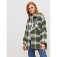 Женская рубашка-пальто Season в клетку оливка